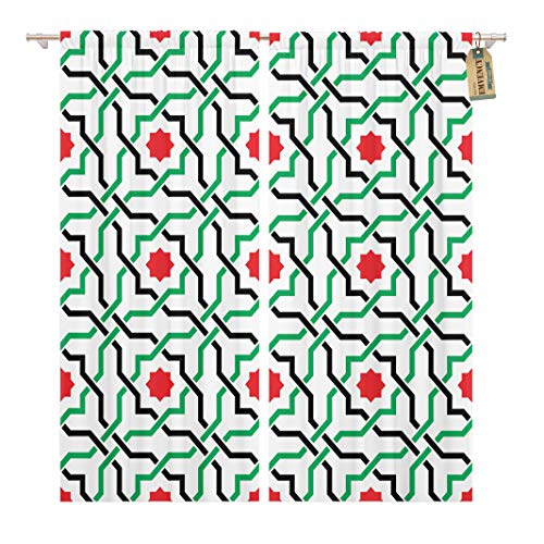 (Golee Window Curtain Green of Geometric Pattern in UAE Flag Colors Home Decor Rod Pocket Drapes 2 Panels Curtain 104 x 84 inches)