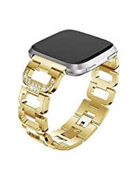 For Fitbit Versa Band, Aottom Fitbit Versa Bands Stainless Steel Rhinestone Glitter Replacement Band Buckle Smart Watch Bracelet Wristband Women Men for Fitbit Versa Fitness Accessories - Gold