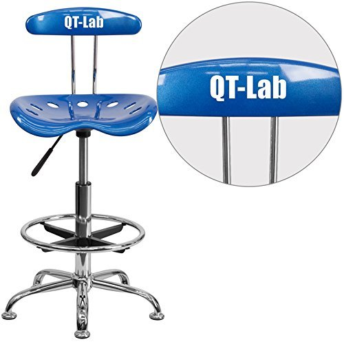 - Flash Furniture Personalized Vibrant Drafting Stool with Tractor Seat, Blue/Chrome