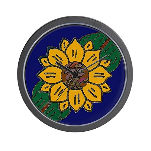 CafePress - Mexican Tile Sunflower Blue - Unique Decorative 10'' Wall Clock by CafePress