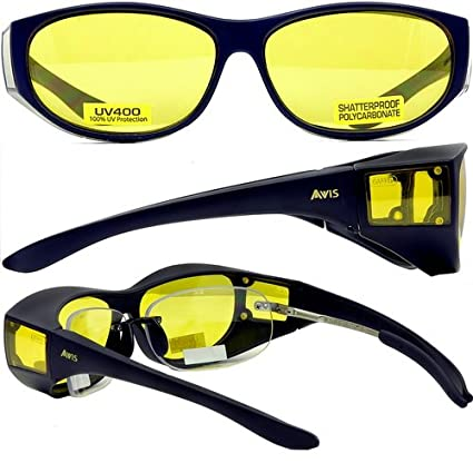 71cb23a5dd2e Global Vision Escort Fit Over Prescription Glasses Sunglasses Yellow Tinted  Has Matching Side Lenses Meets ANSI