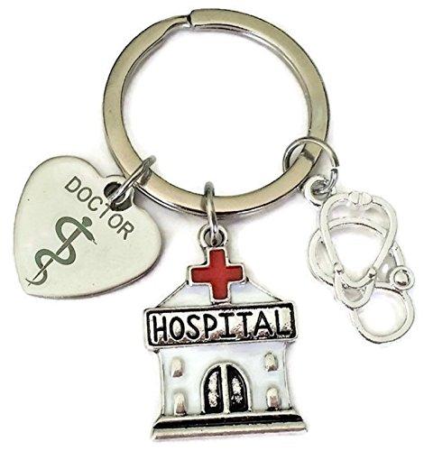 Doctor Keychain, Hospital Keychain, Stethoscope Keychain, Doctor Charm, Hospital Charm, Stethoscope Charm, Gift for Doctor, Doctor Key Ring, Hospital Key Ring