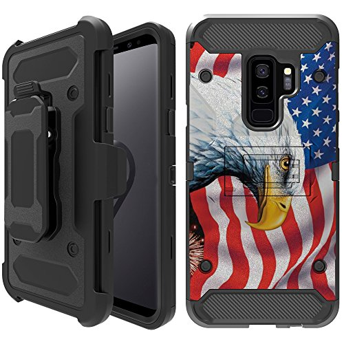 Untouchble Case| Compatible with Samsung Galaxy S9, S9 Holster Case - Triple Protection Holster Belt Clip Holder Cover with Kickstand TANK SERIES - Majestic Eagle