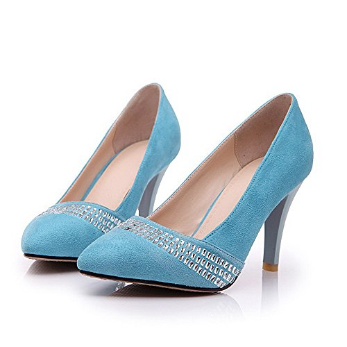 Amoonyfashion Mujeres High Heels Frosted Solid Pull On Bombas De Punta Cerrada Con Punta Azul