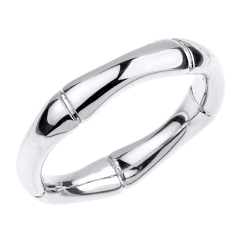 High Polish 14k White Gold Bamboo Style Wedding Ring (Size 7) by Classic Wedding Bands