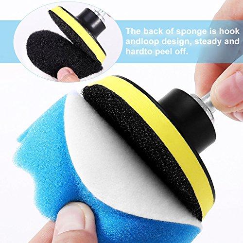 Yosoo Buffing Pads Polishing Pads, 7 Pcs Waxing Sponge Pads Kit Car Polisher with M14 Drill Adapter (7 Inch) by Yosoo (Image #3)'
