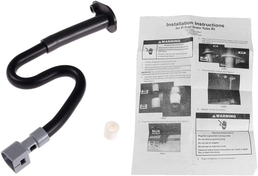 W10619951 Refrigerator Drain Tube Extension - with Instruction, Replace # 2887289 AP5780744 W10210987 W10210988 W10309238, Replacement Part Fit for Whirlpool, Maytag, Kenmore