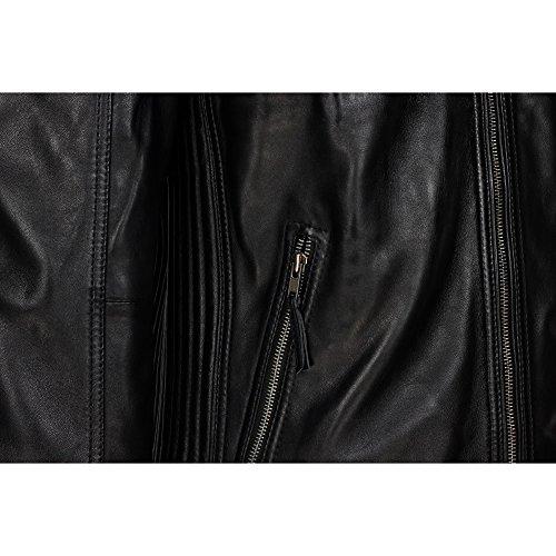 con cremallera hombre piel de motero Cazadora retro encerada Negro para estilo aspecto auténtica FpnZq