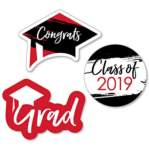 Red Grad - Best is Yet to Come - DIY Shaped Red 2019 Graduation Party Cut-Outs - 24 Count]()