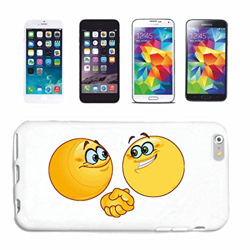 """cas de téléphone iPhone 6S """"DEUX SMILEYS The Bargain """"SMILEYS SMILIES ANDROID IPHONE EMOTICONS IOS grin VISAGE EMOTICON APP"""" Hard Case Cover Téléphone Covers Smart Cover pour Apple iPhone en blanc"""