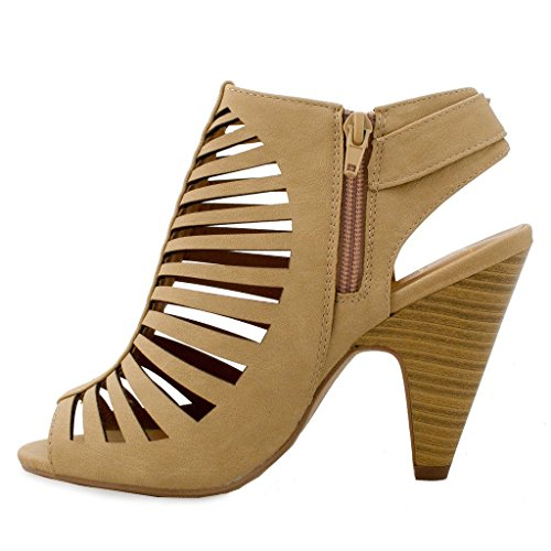 Strappy Beige Sandals High Womens SNJ Cut Out Heel Sling Chunky Back Buckle q6tRHB