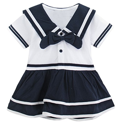 A&J DESIGN Baby Girls' Sailor Costume Dress Bodysuit (12-18 Months, Blue)]()