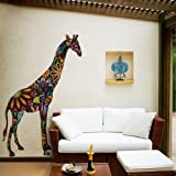 My Wonderful Walls Giant Giraffe Wall Sticker Decal, Peel and Stick and Removable, Multicolored