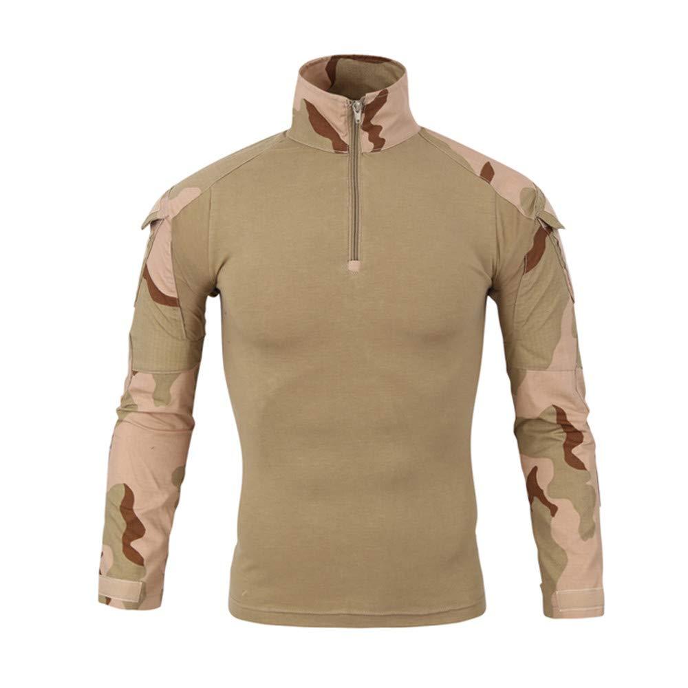 Bestow Tácticos para Hombres Camuflaje Musculoso de Manga Larga Blusa sólida básica Camiseta Top Abrigo Sudadera Abrigo de TV-001