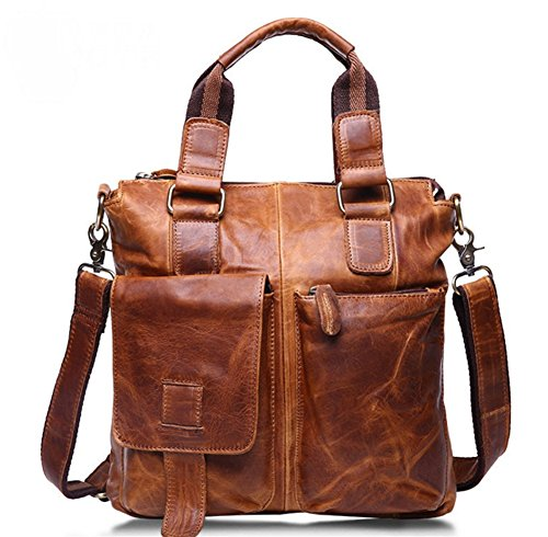 Bao Bags Men Bags For Handbags Business Men Computer Bags Leather Shoulder Bags Crazy Horseskin Casual Vintage Fashion, Brown Chocolate Color