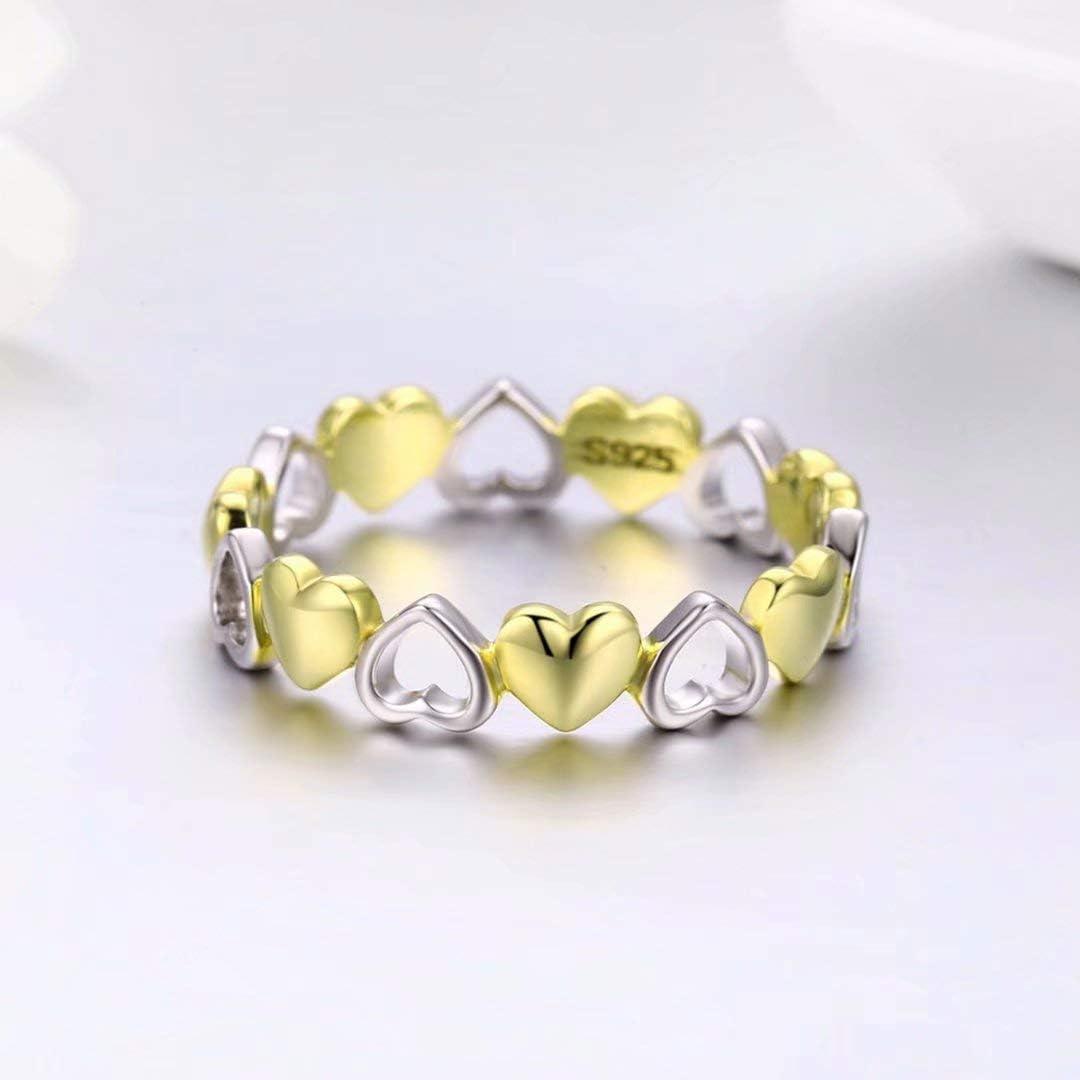 Qings Anello di Cuore,925 Argento Sterling Anello di Fidanzamento per Donne,Placcato in Oro Rosa
