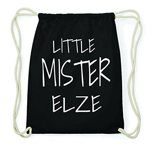 JOllify ELZE Hipster Turnbeutel Tasche Rucksack aus Baumwolle - Farbe: schwarz Design: Little Mister otfc3P