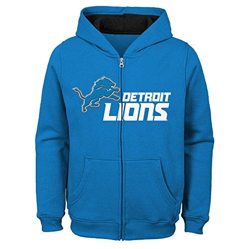 Outerstuff NFL Detroit Lions Kids & Youth Boys Stated Full Zip Fleece Hoodie, Lion Blue, Kids Large(7)