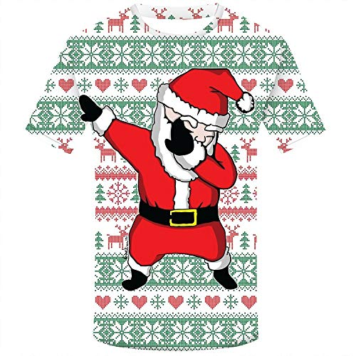 MODOQO Men's Short Sleeve T-Shirt Christmas Santa Print O-Neck Casual Loose Fit Tops (Red,2XL)
