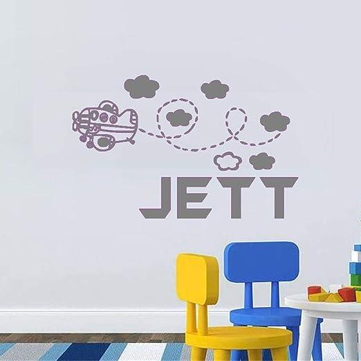 yaoxingfu Adhesivos de Pared Personalizados Avión y Nubes Nombre ...