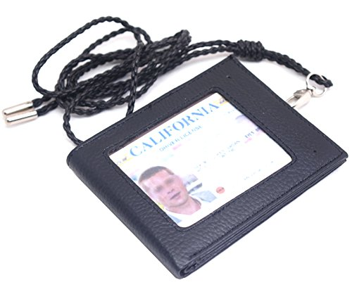 ENCACC Leather Slim Neck Wallet Business Id Card Badge Holder Lanyard Purse (Black EN77) (Floor Decor Credit Card And)