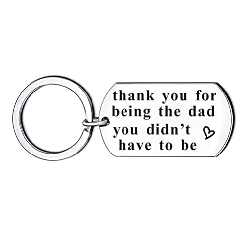 Abitoncc Father's Day Keychain Necklace Gift from Son Daughter Dad Papa I  Love You Stainless Steel Mens Birthday Gift-Thank You Being The dad You