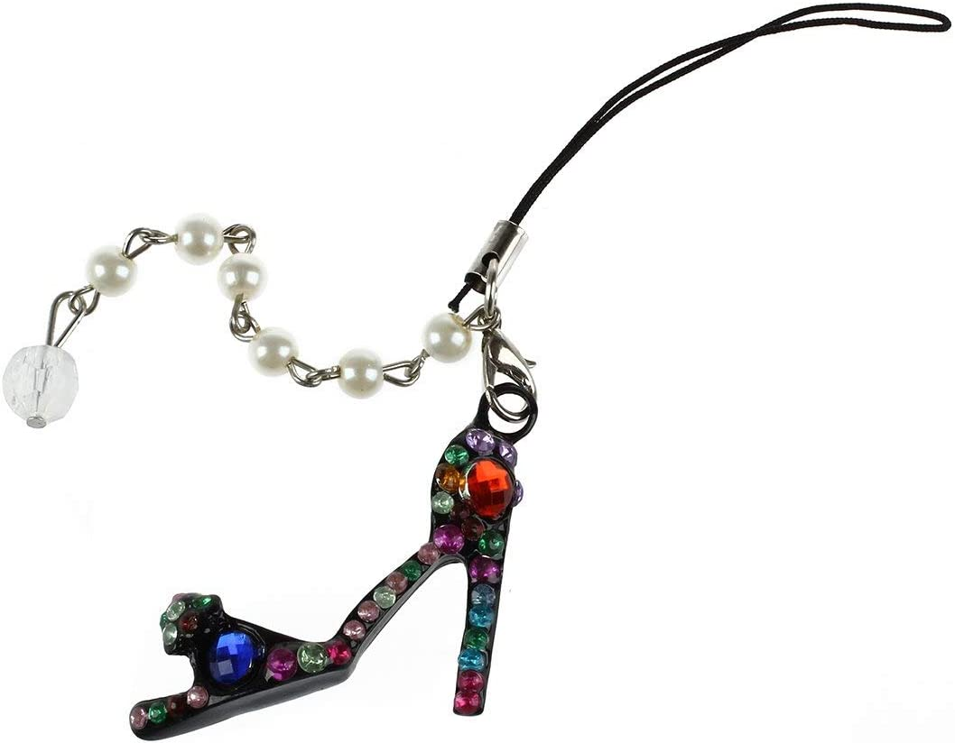 telephone//decoration parfaite pour les dames Breloque de porte-cles en forme de cristal chaussure a talons hauts diamante avec une cha?ne de perles//pour voiture TOOGOO R sac