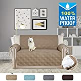 H.VERSAILTEX Pet Friendly Premium Furniture Protector with Silicon Rubber Printing(100% Waterproof and Breathable) Protect from Pets, Spills, Wear and Tear (Love Seat: Taupe) - 75'' X 90''