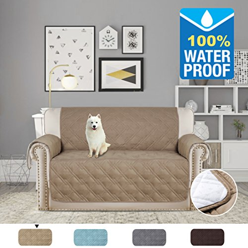 H.VERSAILTEX Pet Friendly Premium Furniture Protector with Silicon Rubber Printing(100% Waterproof and Breathable) Protect from Pets, Spills, Wear and Tear (Love Seat: Taupe) - 75'' X 90'' by H.VERSAILTEX