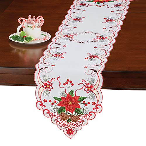 Collections Etc White Poinsettia Table Runner/Topper Linens, Festive Christmas Artistic Embroidered Designs, Runner