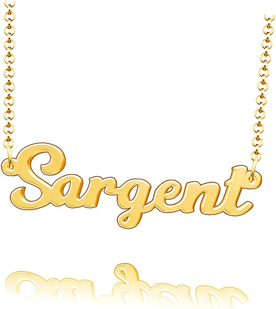 LoEnMe Jewelry Customized Sargent Name Necklace Stainless Steel Plated Custom Made of Last Name Gift for Family