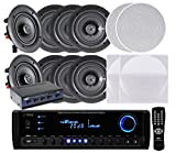 Pyle KTHSP690S 4 Pairs of 200W 6.5'' In-Wall / In-Ceiling Stereo White Speakers w/ 300W Digital Home Stereo Receiver w/ USB/SD/AUX Input, Remote w/ 4 Channel High Power Stereo Speaker Selector