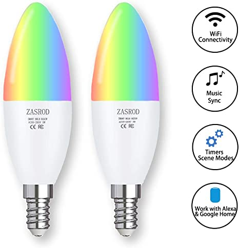 3 Pack CMARS Smart Light Bulb,E12 Base,Candelabra Light Bulbs Compatible with Alexa Google Home,Dimmable and Color Changing,320 lm 35w Equivalent 2.4 Ghz only