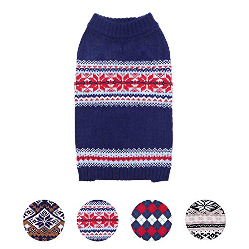 Blueberry Pet Holiday Chic Secret Fair Isle Style Dog Sweater in Navy Blue, Back Length 10'', Pack of 1 Clothes for Dogs by Blueberry Pet