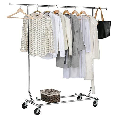 arment Rack Heavy Duty Clothes Rack Extendable Commercial Grade Capacity 200lb on Wheels All Metal Chrome ()