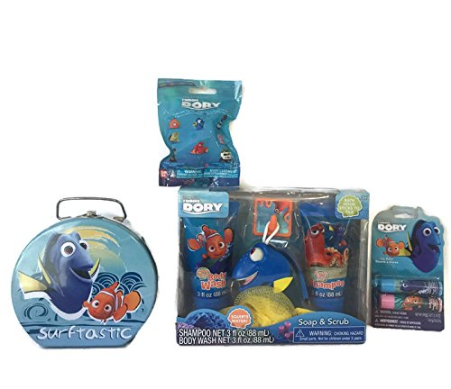 Finding Dory Bundle: Semi-round Shaped Tin Box With Clasp & handle, Soap and Scrub Gift Set, 2 Pack Lip Balm Gloss And A Finding Dory w/ Nemo Collectible Blind Mystery Bag/Pack Series 1 (4 Items)