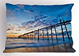 Lunarable Nature Pillow Sham, Sunset and Old Wood Bridge Phang-NGA Thailand Beach Tourism Attractions Romantic, Decorative Standard Size Printed Pillowcase, 26 X 20 inches, Blue Peach