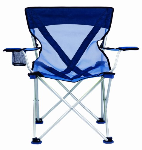 TravelChair Teddy Folding Camp Chair with Sheer Nylon Mesh for Hot Days, Blue