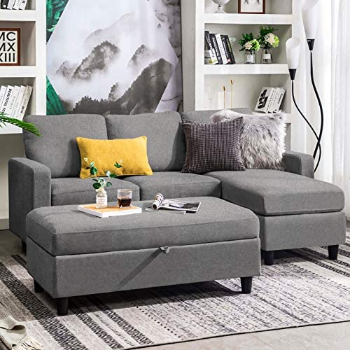HONBAY Grey Sectional Couch with Ottoman L Shaped Sofa for Living Room Sectionals with Chaise and Ottomans
