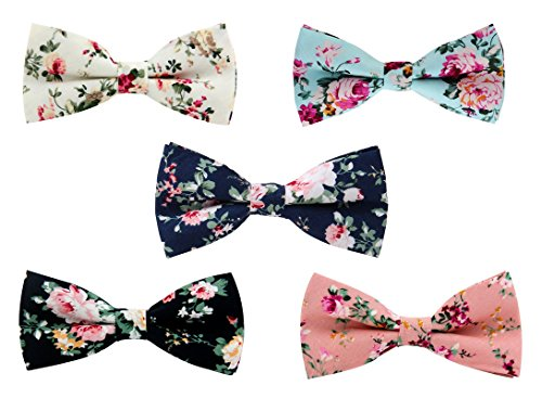 Levao Men's Cotton Floral Printing Bow Tie Mix/A
