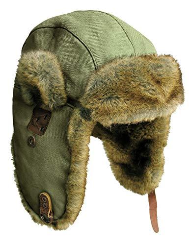 (Canvas Winter Rabbit Fur Aviator Outdoor Trapper Trooper Pilot Ski Hat | Kakadu Australia)