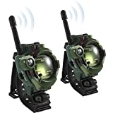 JSMKX Walkie Talkie Watch for Kids,Two-Way Long Range Radio Transceiver,Outdoor Interphone with Flashlight Outdoor Toys Gifts for Girls/Boys, Camouflage-2 Pack