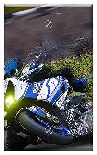 (Single-Gang Blank Wall Plate Cover - Race Bike Biker Fast Racer Racetrack)