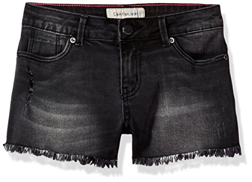Calvin Klein Girls' Big Boyfriend Cut-Off Denim Short, Noire, 10