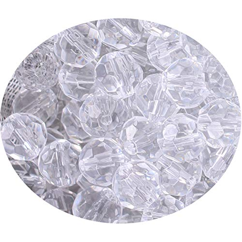 BIHRTC Pack of 300 Rondelle Faceted Crystal Glass Spacer Loose Beads for Jewelry Making Findings (6mm, Clear)