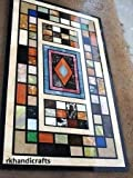 Sofa Center Table Top 60'' x 30'' Rectangle Black Marble Luxury Marquetry Design Inlay Multi Color Stones