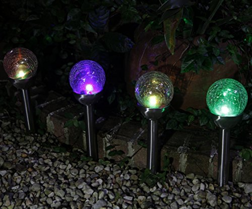 Grand Patio Crackle Glass Globe Solar Path Lights Weather