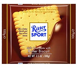 Ritter Sport, Milk Chocolate with Butter Biscuit, 3.5-Ounce Bars (Pack of 11)