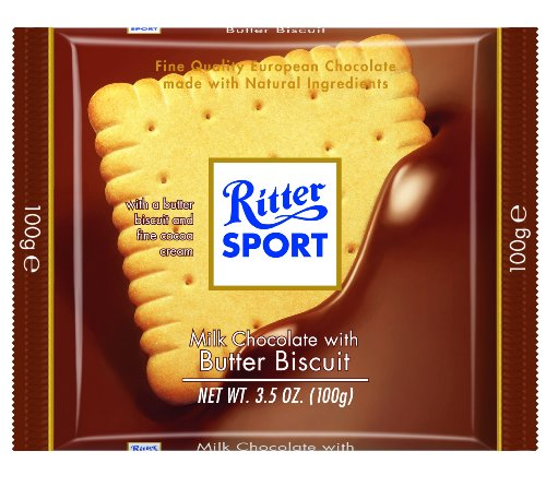 Ritter Sport Milk Chocolate with Butter Biscuit, 3.5 Ounce - 11 per case.