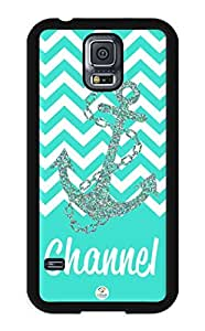 iZERCASE Samsung Galaxy S5 Case Personalized Turquoise White Chevron with Anchor Pattern RUBBER CASE - Fits Samsung Galaxy S5 T-Mobile, Sprint, Verizon and International (Black)